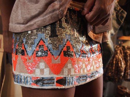 aztec-print beaded skirt.