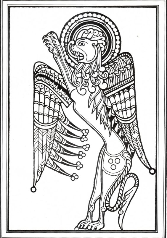 Winged lion as a symbol of st john ink pinterest for Book of kells coloring pages