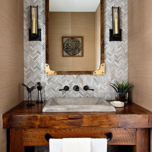 Stratford Rustic Powder Room  NativeStone Concrete Sink for the Bathroom  Designer: Gabriele Pizzale, Gabriele Pizzale Design Photographer: Mike Chajecki, Still Moments Photography Contractor: Accurate Home Improvements Vanity Millworker: Rebarn Oakville, Ontario, Canada