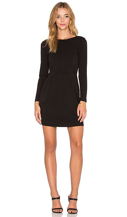 BLACK Knit Boucle Long Sleeve Mini Dress | Black knit, Dress in ...