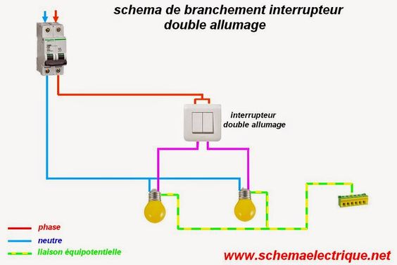 Sch ma lectrique interrupteur double allumage branchement clairage par - Branchement spot encastrable ...