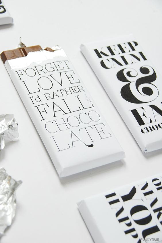 Food/Decor - Chocolate Break Idea  Cute black & white chocolate bar wrappers with fun sayings. #packaging