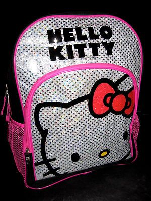 "Hello Kitty backpack 16"" full size GLITTER silver bookbag school bag tote box"