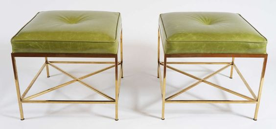 Vintage Brass Paul McCobb Style Leather Upholstered Stools | From a unique collection of antique and modern stools at https://www.1stdibs.com/furniture/seating/stools/