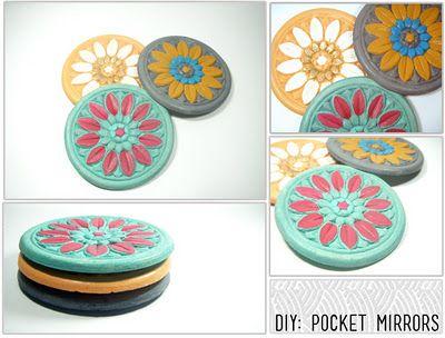 #DIY pocket mirrors: Diy Ideas Crafty, Diy Crafts, Crafty Gifts, Diy Gifts, Crafts Diy, Christmas Gift, Pocket Mirror