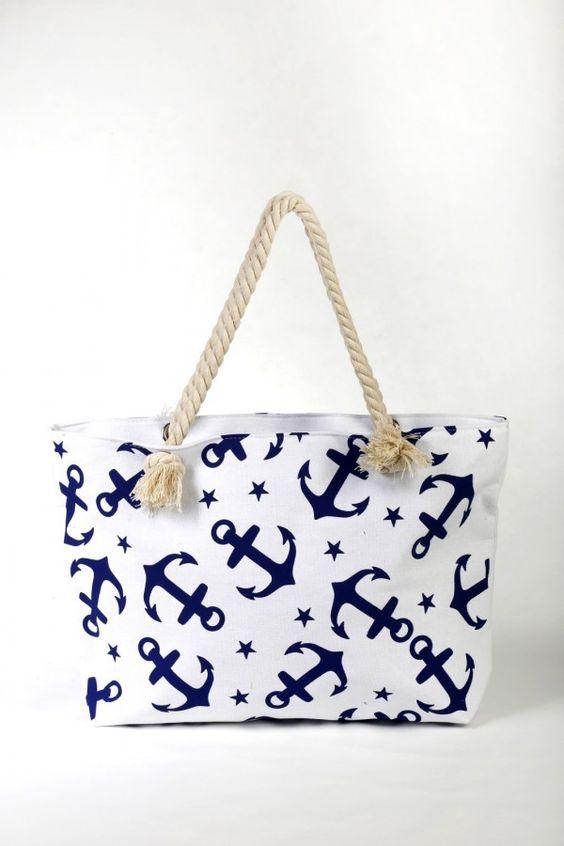 """Τσάντα για τη Θάλασσα, αλλά και για τα ψώνια σας - υφασμάτινη """"Άγκυρες"""""""
