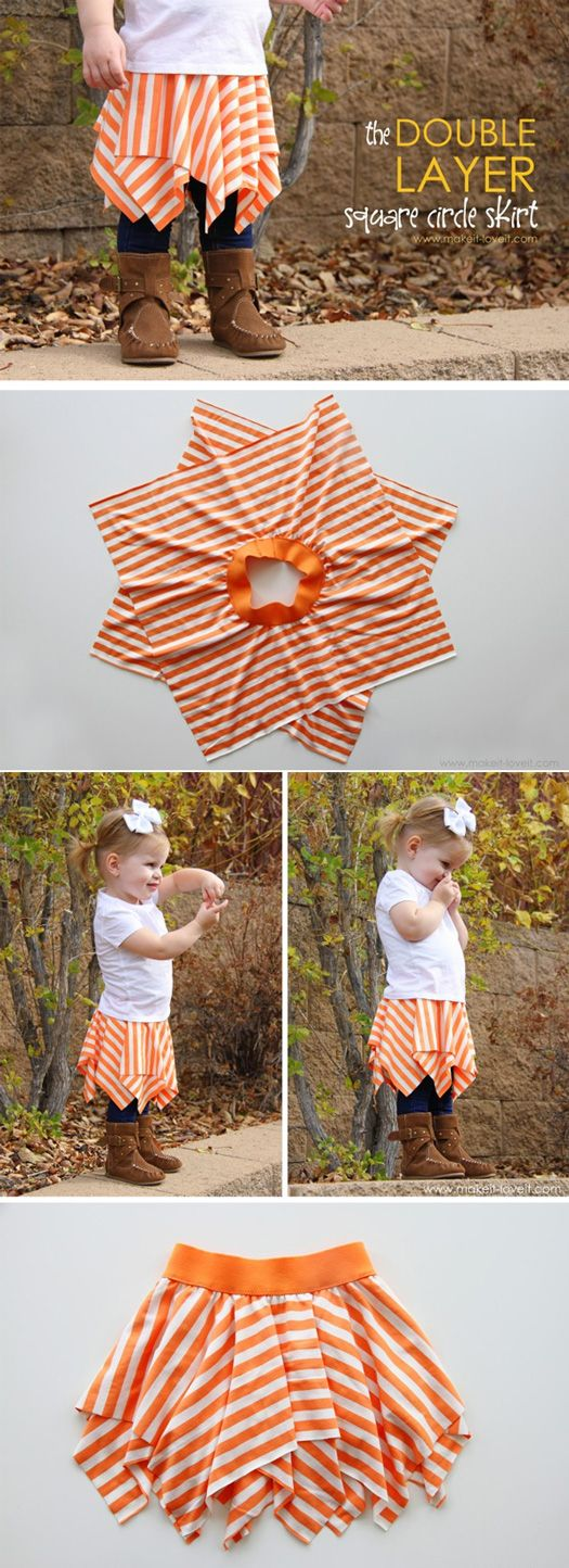{The DOUBLE-LAYER Square Circle Skirt} *Too cute- for my nieces!