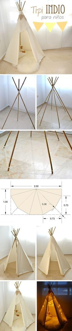 DIY Indian tipi for kids - Tipi indio para niños & Looking for a DIY weekend project? Try this teepee that doesnu0027t ...