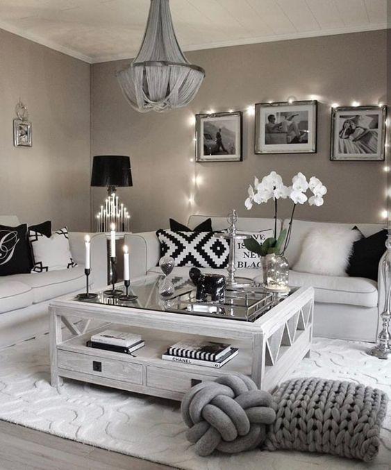White And Grey Cozy Living Room Decor, Living Room Ideas Decor