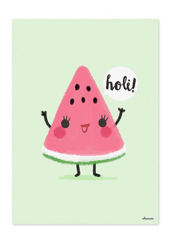 """Illustrationen - Illustration Wassermelone, Serie """"Holi Fruit"""" - ein Designerstück von Sylloves bei DaWanda"""