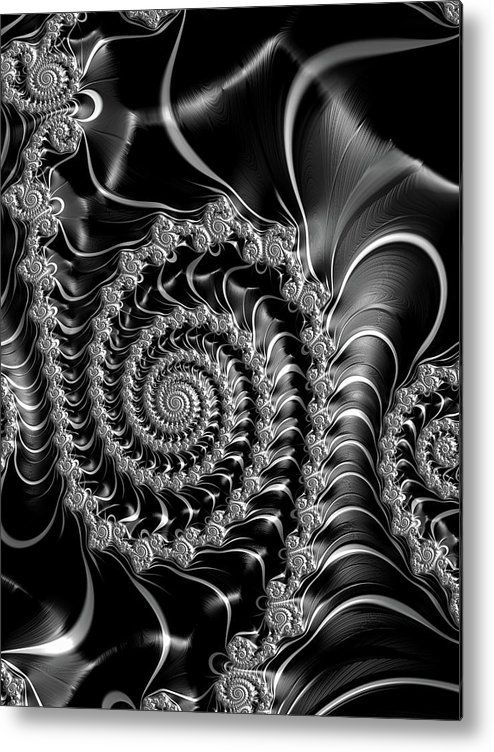 Decorative fractal art black and white metal print home the ojays and math