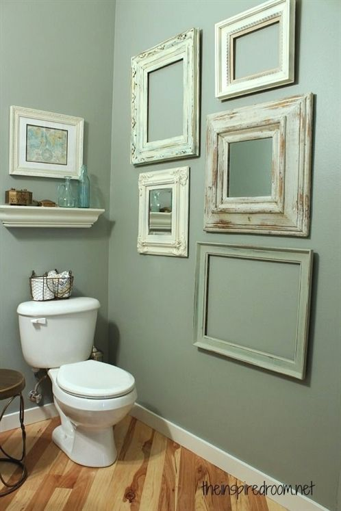 Small Bathroom Makeover Blue Green Walls I Really Like The Frames On The Wall It Doesn T Mak Small Bathroom Makeover Bathroom Wall Decor Small Bathroom Decor