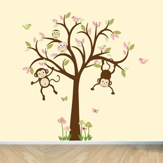 Girl Monkey Nursery Wall Decor : Monkey wall decals nursery girl tree