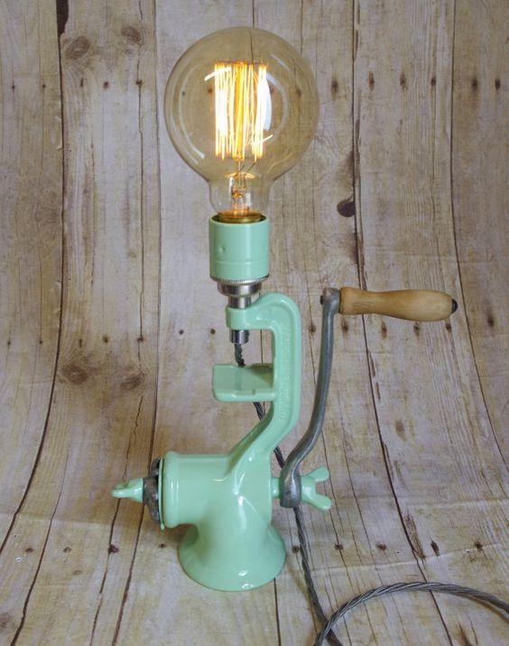 Vintage Up- Cycled Meat Grinder Lamp