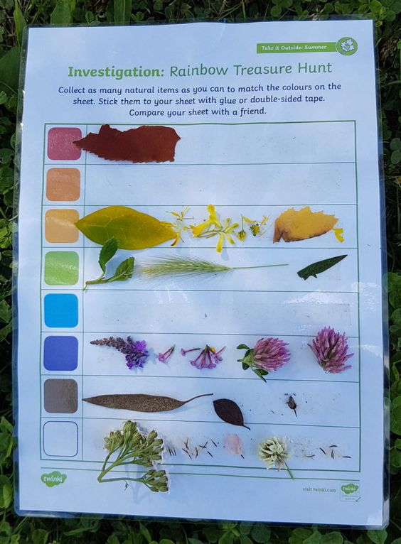 Getting outside AND learning on a Rainbow Treasure Hunt using Twinkl Resources