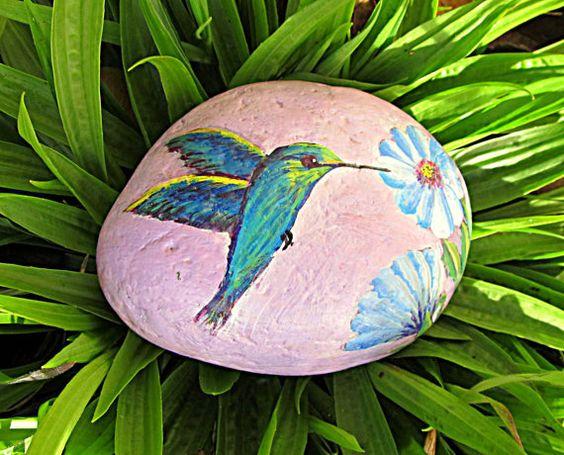 Hummingbird Rock, Hand Painted Rock, Bird Painting, Garden Decor, Flower Art, Colorful Rock Art, Stone Painting, Bird Art, Spring Gift,Bird
