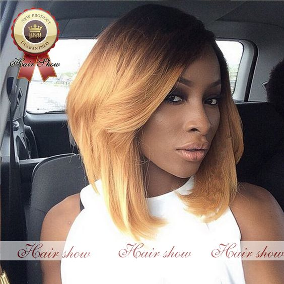 $132.00 (Buy here: http://appdeal.ru/dt17 ) Hot Short Bob Ombre Human Hair Wig Unprocessed Brazilian Full Lace Human Hair Wigs #1b/#27 100% Virgin Lace Front Wig for just $132.00