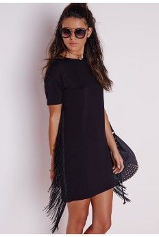 Fringe Side T-Shirt Dress Black