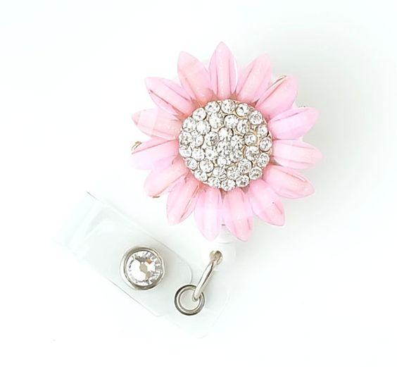 Pink Sunflower Bling  Pretty Badge Holder  Bling Badge Reels by BadgeBlooms, $18.00