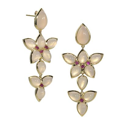 18kt yellow gold multiple Mariposa chandelier earrings with Rose Quartz over Mother-of-Pearl teardrop cabachons and small pink ruby round cabachons with post backs