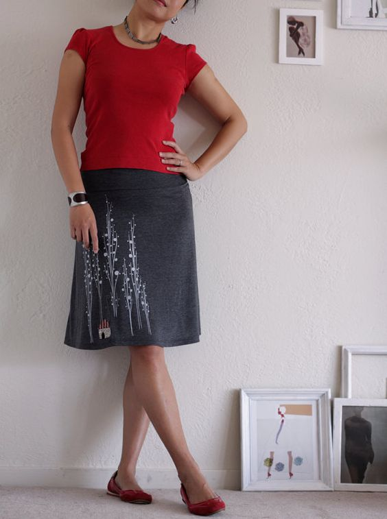 Grey Jersey Knee Length Aline Skirt