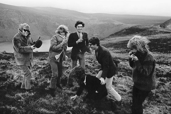 #Sixties | Brian Jones, Nicki Browne, Bill Willis, Talitha Getty, John Paul Getty II and Anita Pallenberg near Luggala, a Gothic castle in the Wicklow mountains belonging to Tara Browne.: