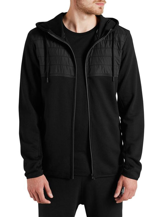 HYBRID SWEATSHIRT MED DRAGKEDJA, Black, large