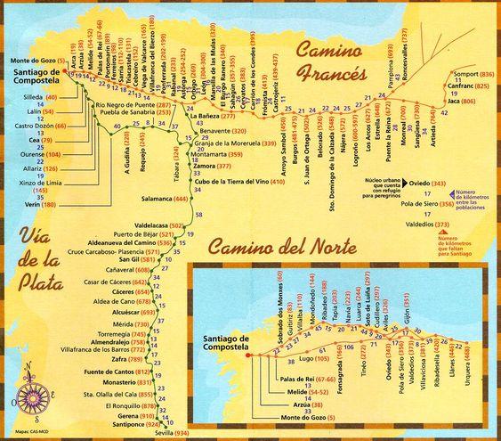 good map of the el camino de santiago