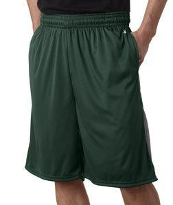 "Badger Adult 9"" Drive Performance Shorts With Pocket 4117 Forest/ Graphite"
