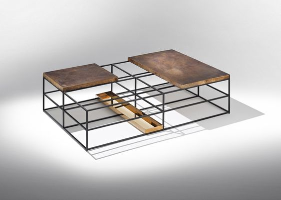 """Cages"" coffee table 01-2013 Nucleo_Piergiorgio Robino + Gabriele Bagnoli Polished and patinated bronze, iron 80x120x35H cm Studio Nucleo exclusive for Nilufar Gallery"