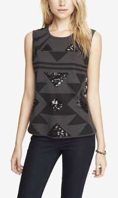 LACE BACK SEQUIN AZTEC PRINT MUSCLE TANK from EXPRESS