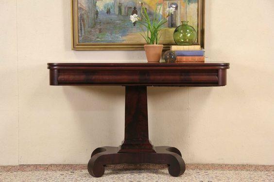 Empire Mahogany 1840 Antique Hall Console, Sofa or Game Table #Empire