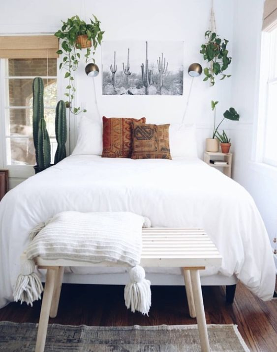 Rustic Bedroom White Bedroom White Plant Bedroom Decor Boho Bedroom Shabby Chic Bedroom Nighslee Memory F Simple Bedroom Simple Bedroom Design Bedroom Interior