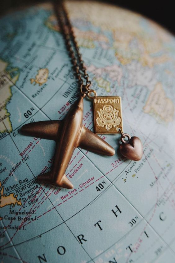 Excited to share the latest addition to my #etsy shop: wanderlust II.  a whimsical raw brass airplane and passport necklace for travel lovers