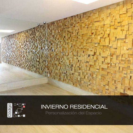 Invierno residencial lobby de acceso muro de madera - Muro de madera ...