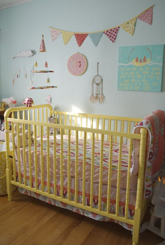 Project Nursery - Yellow Jenny Lind Crib in this Colorful Boho Nursery