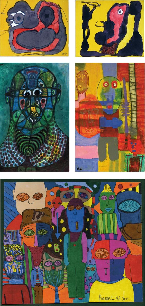 A choice of four Outsider Artists – twice Pierre Albasser (a drawing on front and back side), by Noviadi Angkasapura, Bob Hoke and finally Parker Lanier (www.outsider-art-brut.ch & www.aussenseiterkunst.ch).