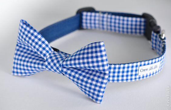 Bow Tie Dog Collar by CrewLaLa on Etsy