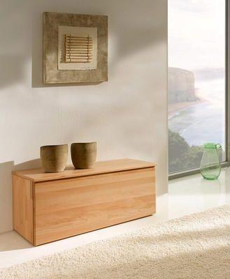 Wäschetruhe Holz Buche mit Sitzfläche und viel Stauraum