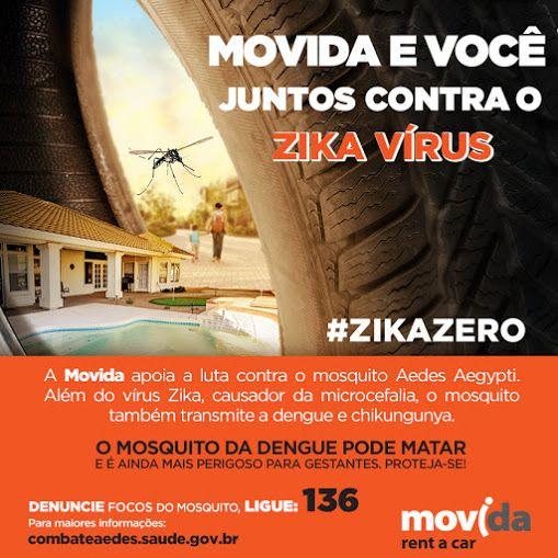 A Movida apoia a luta contra o zika vírus!  Faça a sua parte e denuncie possíveis focos do mosquito. Ligue 136.