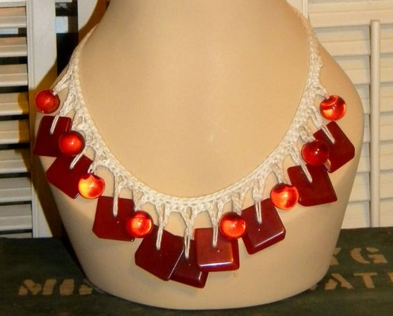 Red Bakelite Button Necklace Cherry Red Bakelite by PeppermintPigs, $42.00