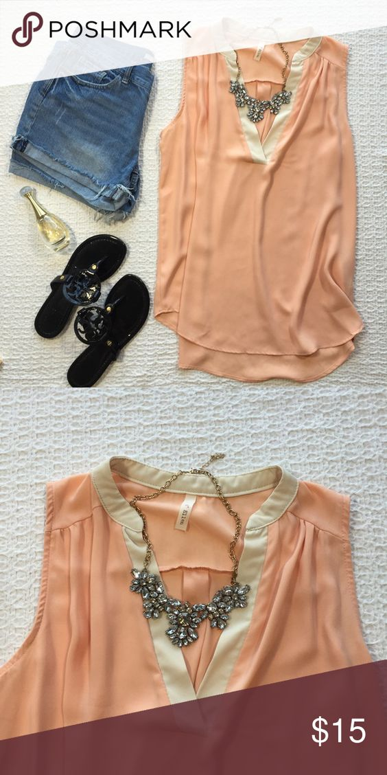 A+ Ellen Flowy Tank Peach color with off-white trimming; super breezy top that's perfect for summer! Purchased at a locks boutique and only worn once, in great condition! Shorts also listed in my closet :) Anthropologie Tops Blouses