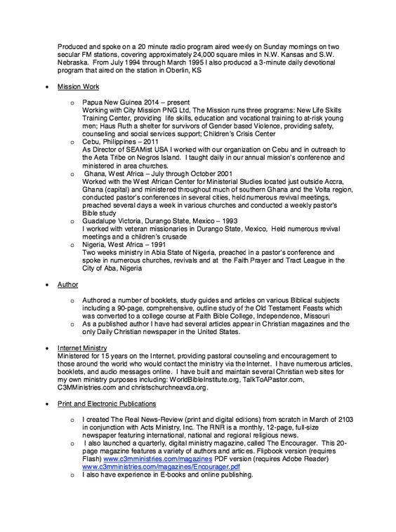 Resume Sample For Christian Counselor - http\/\/resumesdesign - ministry resume