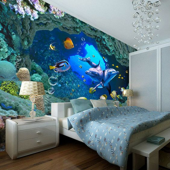 3d underwater world wallpaper custom wall mural ocean for Dolphin mural wallpaper