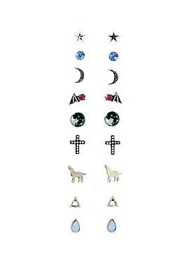 <p>Nine pack of post-style earrings featuring designs inspired by the great outdoors. Includes earrings of howling wolves, full mons, stars, batwings and geometric shapes.</p>  <ul> 	<li>Metal; plastic</li> 	<li>Stud earrings</li> 	<li>Imported</li> </ul>