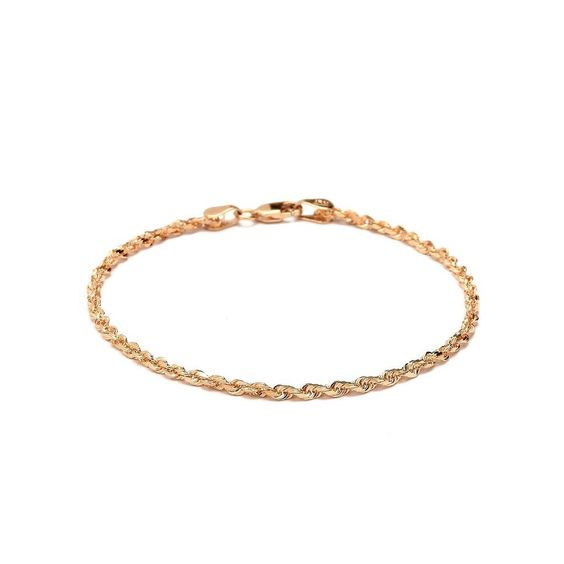 Solid Diamond Cut Rope Chain Bracelet and Anklet - 10k Fine Gold - 2.5mm (0.1') * Find out @ http://www.amazon.com/gp/product/B00IX0XMZO/?tag=finejewelry4u.com-20&prw=140716015115