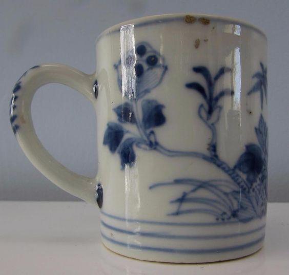 C18th CHINESE KANGXI ANTIQUE BLUE &WHITE COFFEE CAN CIRCA 1720  £37