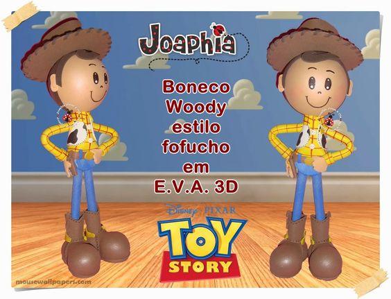 JOAPHIA ARTES E CIA: BONECO WOODY EM E.V.A. 3D ESTILO FOFUCHO - TOY STORY