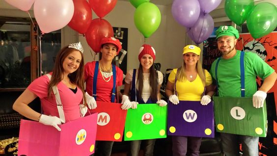 Mario Cart!! I used cardboard boxes and duct tape for the cars.