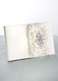 """Ruffled bridal satin layers with a Vintage inspired brooch that can be removed after the wedding! Guest book has 17 pages and measures 9 1/2"""" x 61/2""""."""
